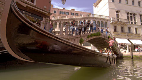 Tourists in a gondola in slow motion Footage