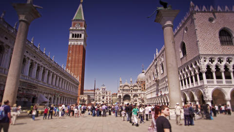 Slow motion shot of crowds at Piazza San Marco Footage