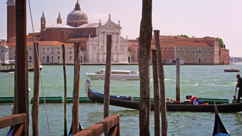 Slow motion shot of Grand Canal and the Church of San Giorgio Maggiore Footage