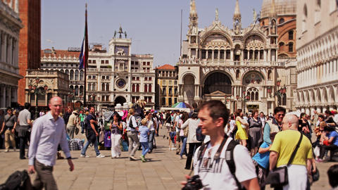 Slow motion video of tourists in Piazza San Marco Footage