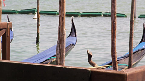 Tips of docked gondolas rock up and down from the waves on the Grand Canal Footage