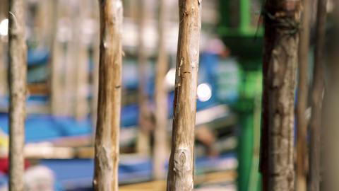 Slow motion shot of two wooden gondola docking posts Footage
