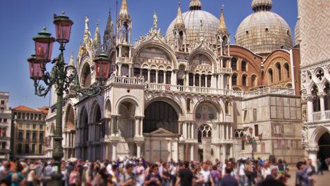 Slow motion, tilt shot of Basilica San Marco Footage