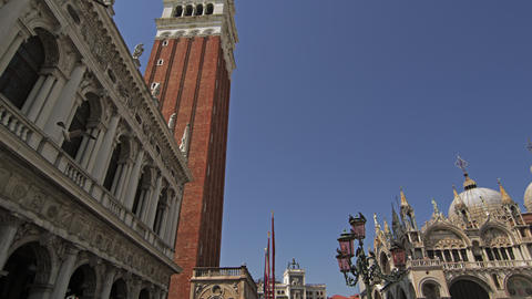 Panning and tilt shot in slow motion of Piazza San Marco Footage