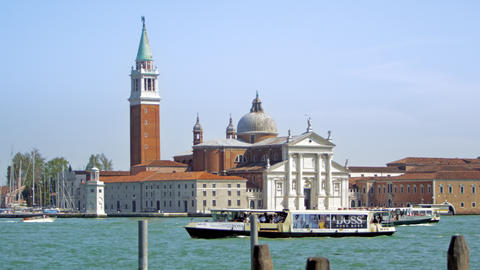 Slow motion shot of boat passing in front of San Giorgio Maggiore Footage