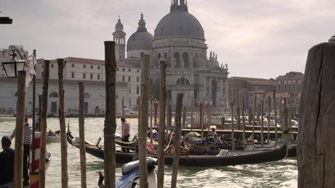 Time-lapse, tilt shot of gondola dock Footage