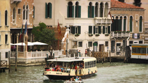 Boats and waterfront buildings in Venice Footage