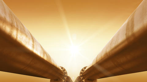 Pipeline at the Sunset. Shining Orange Sun. Looped 3d animation. Technology and  Animation