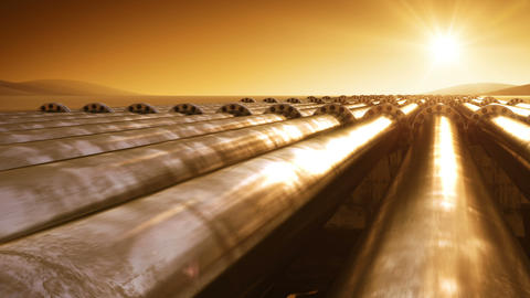 Flying at Pipelines Route Endless. Looped 3d animation. HD 1080. Steel Pipelines Animation
