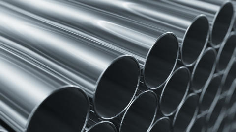 Looped 3d animation of Metallic Pipes. Camera moving near rows of tubes. Constru Animation