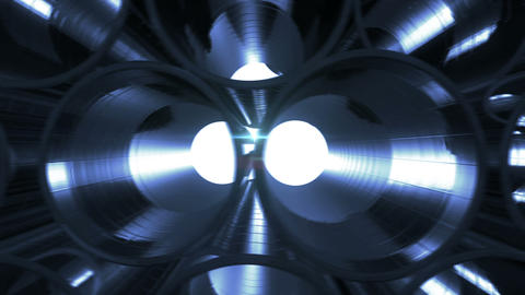 Metal Pipes with blue reflections and flares inside. Looped 3d animation. HD 108 Animation