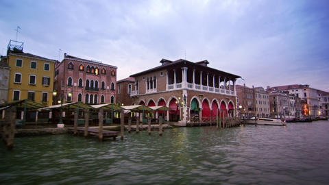Tracking shot of covered pedestrian area on Grand Canal Footage