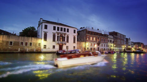 Motor boat and buildings on the Grand Canal Footage
