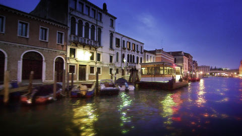 Tracking shot of the Grand Canal and its buildings at night Footage