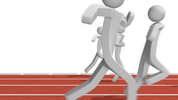 Running 3D characters on the track. Concepts of business competition and success Animation