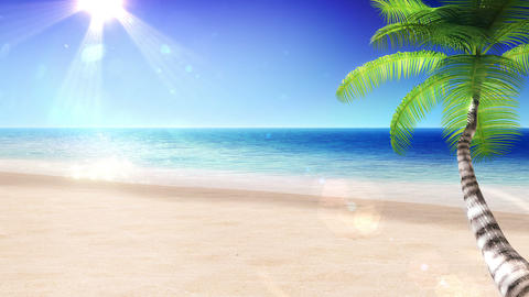 Sea and Sun. Tropical Beach with Palm Tree. Beautiful Looped 3d animation. HD 10 Animation