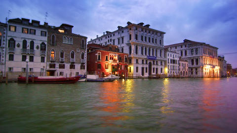 Tracking shot of majestic buildings on the Gran Canal Footage
