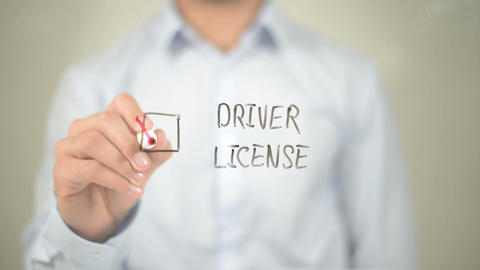 Driver License, Man writing on transparent screen Footage