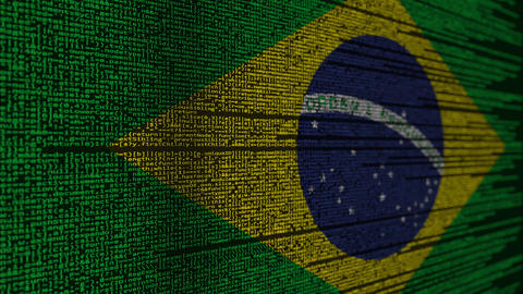 Program code and flag of Brazil. Brazilian digital technology or programming Live Action