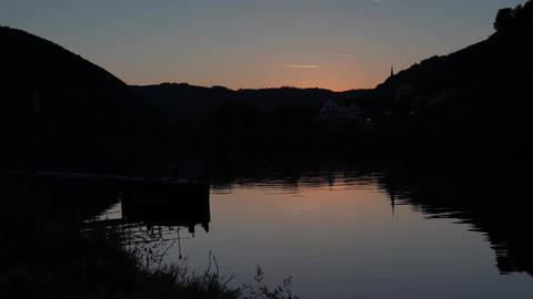 Evening on Moselle river, Germany Live Action