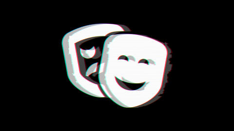 From the Glitch effect arises theater masks symbol. Then the TV turns off. Alpha channel Animation