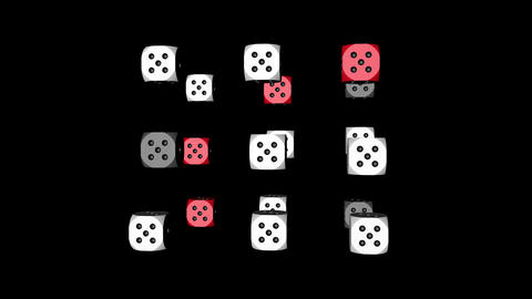 Red White Dice Loop Moving, 3D Rendering Stock Video Footage