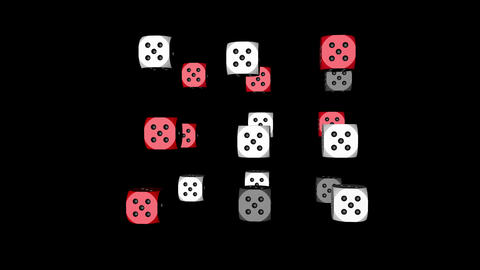 Red White Dice Loop Moving, 3D Rendering Animation