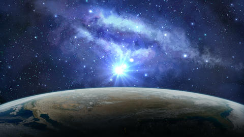 Earth planet in sunrise with milky way Animation