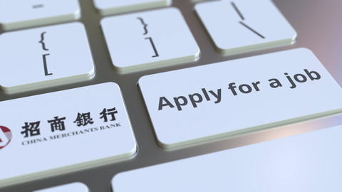 Computer keyboard with CHINA MERCHANTS BANK logo and Apply for a job text on the Footage