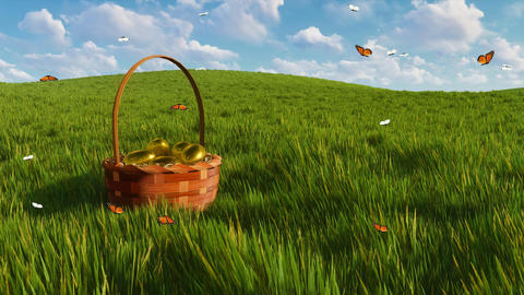 Basket with easter eggs on grass and fluttering butterflies Animation