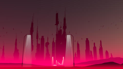 Retro-futuristic Cityscape Animation