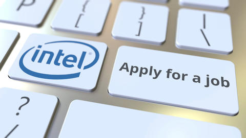 Keyboard with INTEL company logo and Apply for a job text on the keys. Editorial Footage