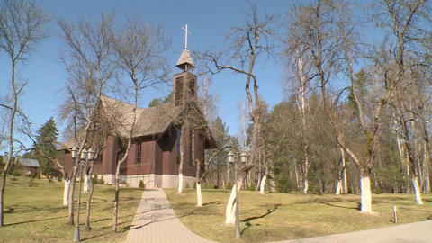 Newly build traditional wooden church and beautiful environment in yard Footage