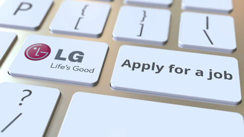 Keyboard with LG company logo and Apply for a job text on the keys. Editorial Live Action