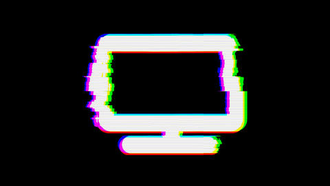 From the Glitch effect arises tv symbol. Then the TV turns off. Alpha channel Premultiplied - Matted Animation