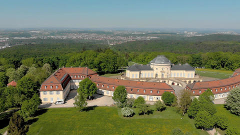 Aerial Schloss, palace Solitude in Germany Footage