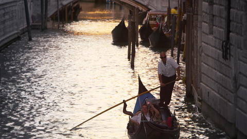 Upward titling slow motion shot of a canal in Venice, Italy Footage