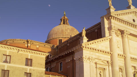 Slow motion shot of the intricate rooftop architecture of the Church of San Gior Footage