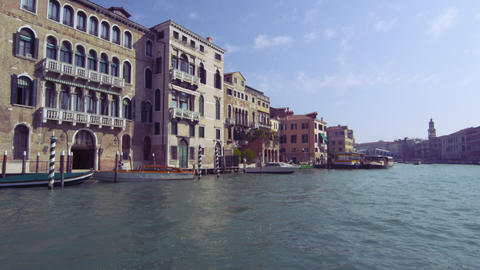 Tracking shot of waterside buildings on Grand Canal Footage