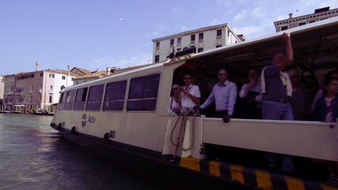Slow motion shot of motor boats traveling on the Grand Canal Footage