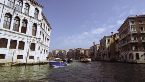 Tracking shot emerging from underneath Rialto Bridge Footage