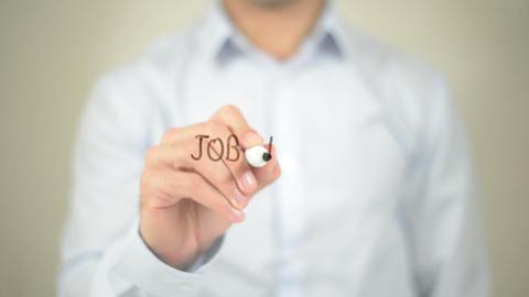 Job Market , Man writing on transparent screen Footage