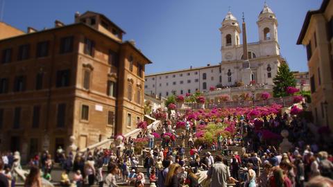 Tilt up to Trinità dei Monti in slow motion Live Action