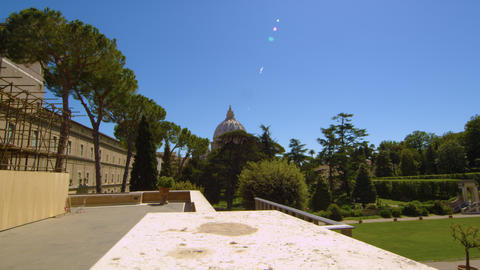 Shot of the Vatican from the north through trees Footage