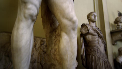 Rising shot of Hercules and Telephus at the Vatican Footage