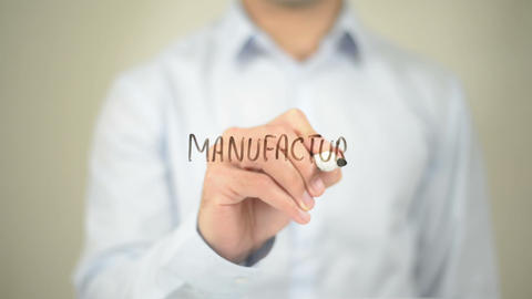 Manufacturing Management , Man writing on transparent screen Footage