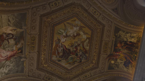 Ornate ceiling in the Vatican Museum Footage