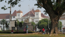 Muslim ladies walking through park,Yogyakarta,Indonesia Footage