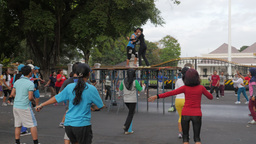 People doing aerobic,Yogyakarta,Indonesia Footage