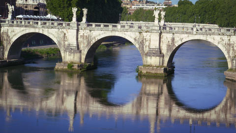 Ponte Sant'Angelo is reflected in the Tiber River Footage